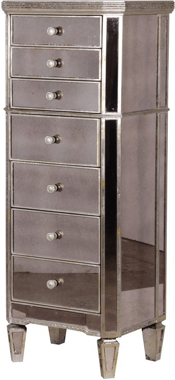 Best Slim Venetian Tallboy Chest Of Drawers Mirrored Finish With Pictures
