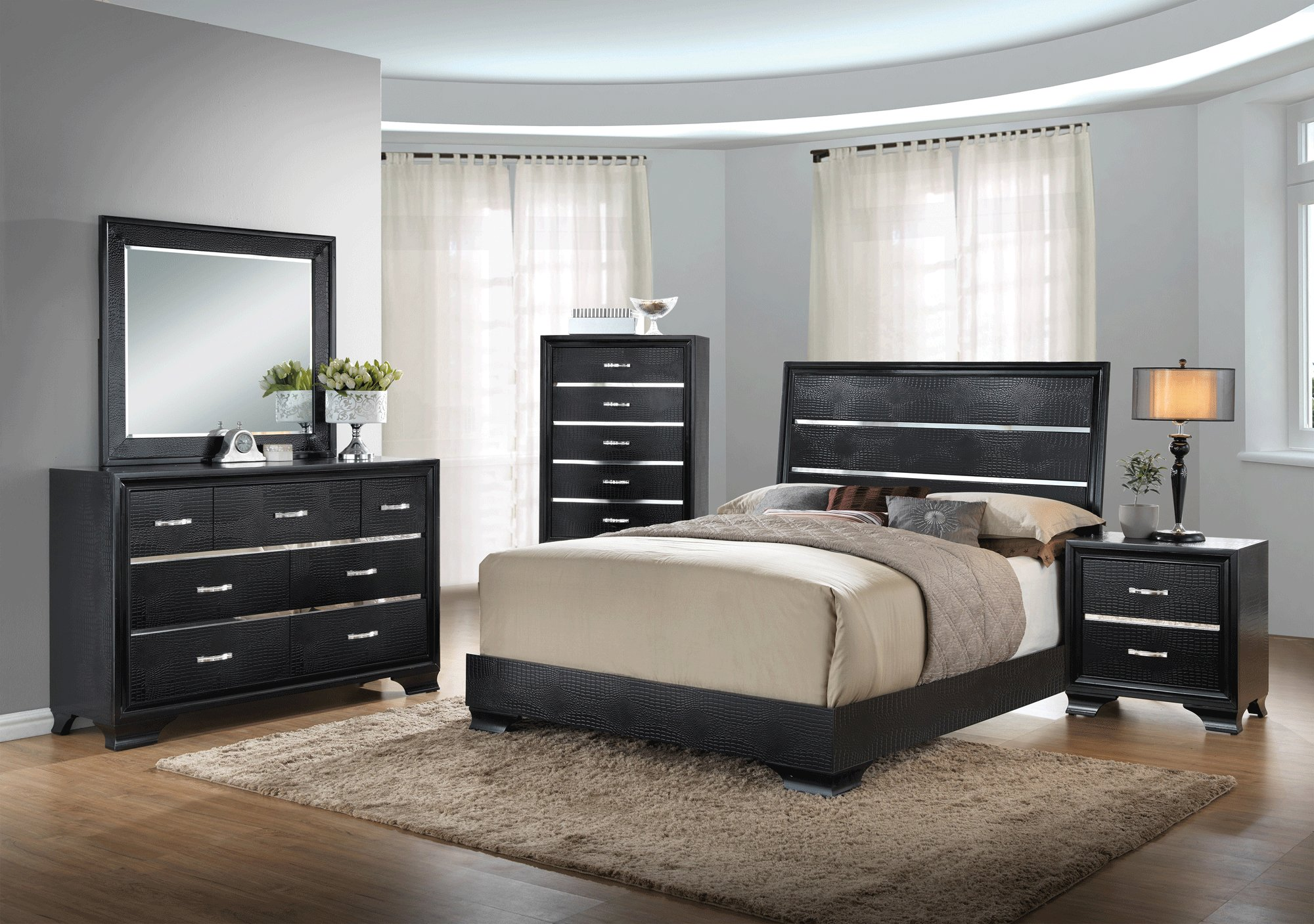 Best Felix Black Bedroom Set By Global Furniture With Pictures