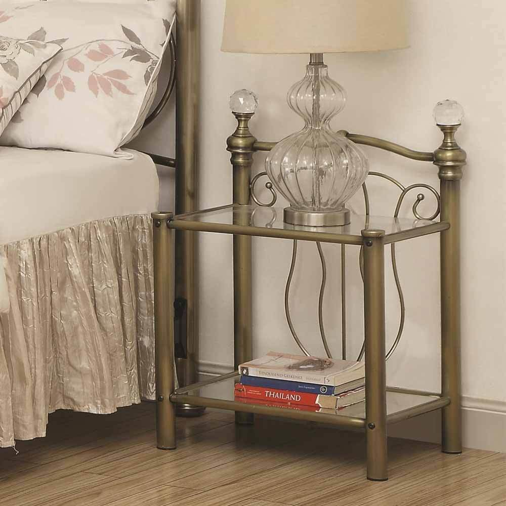 Best Traditional Bedroom Nightstand Night Stand W Glass 2 With Pictures
