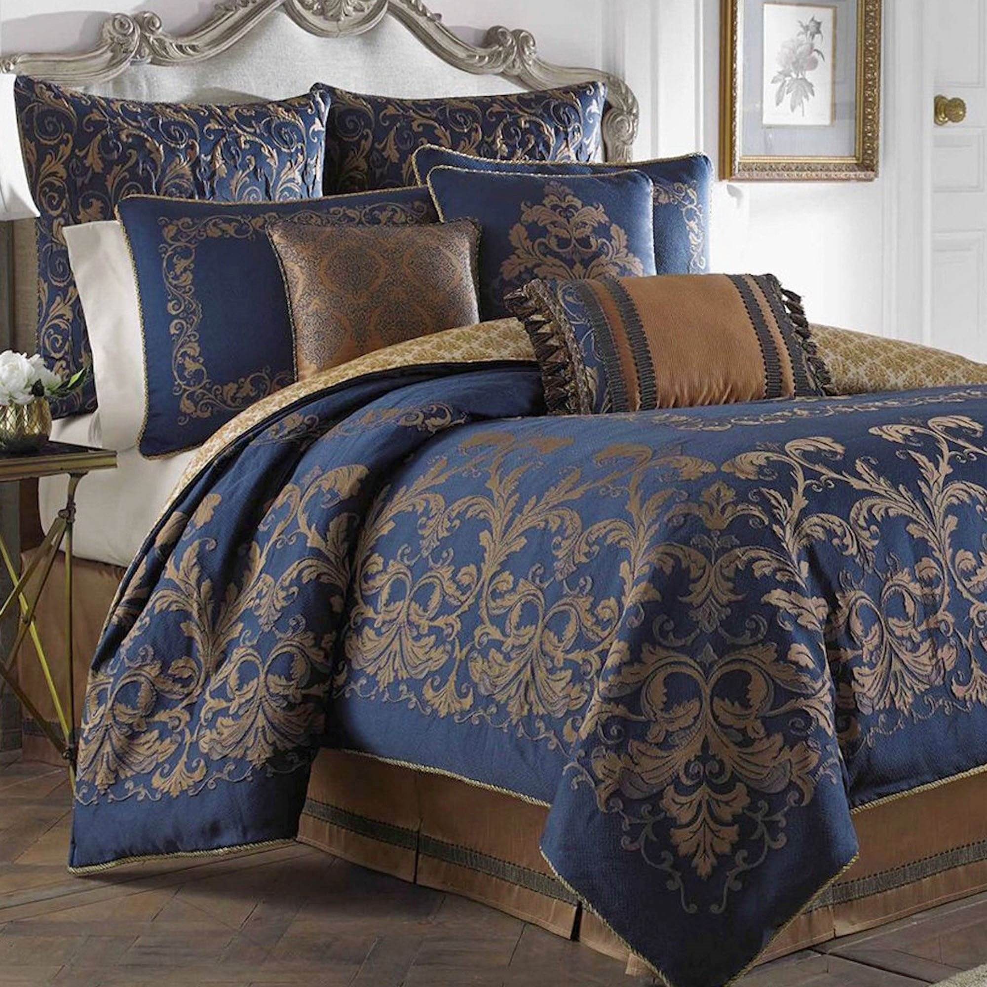 Best Monroe Midnight Blue Comforter Bedding By Croscill With Pictures