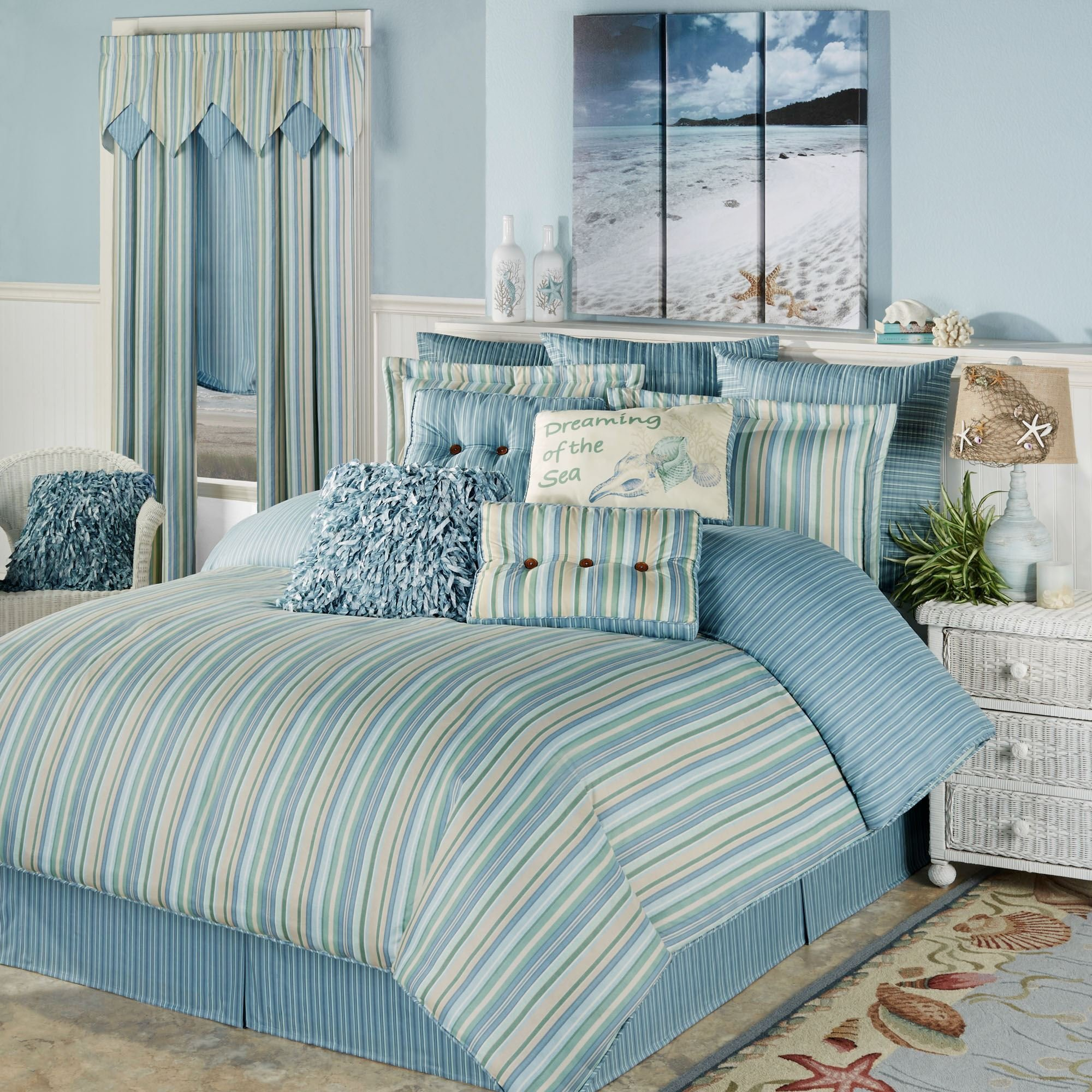 Best Clearwater Coastal Striped Comforter Bedding With Pictures