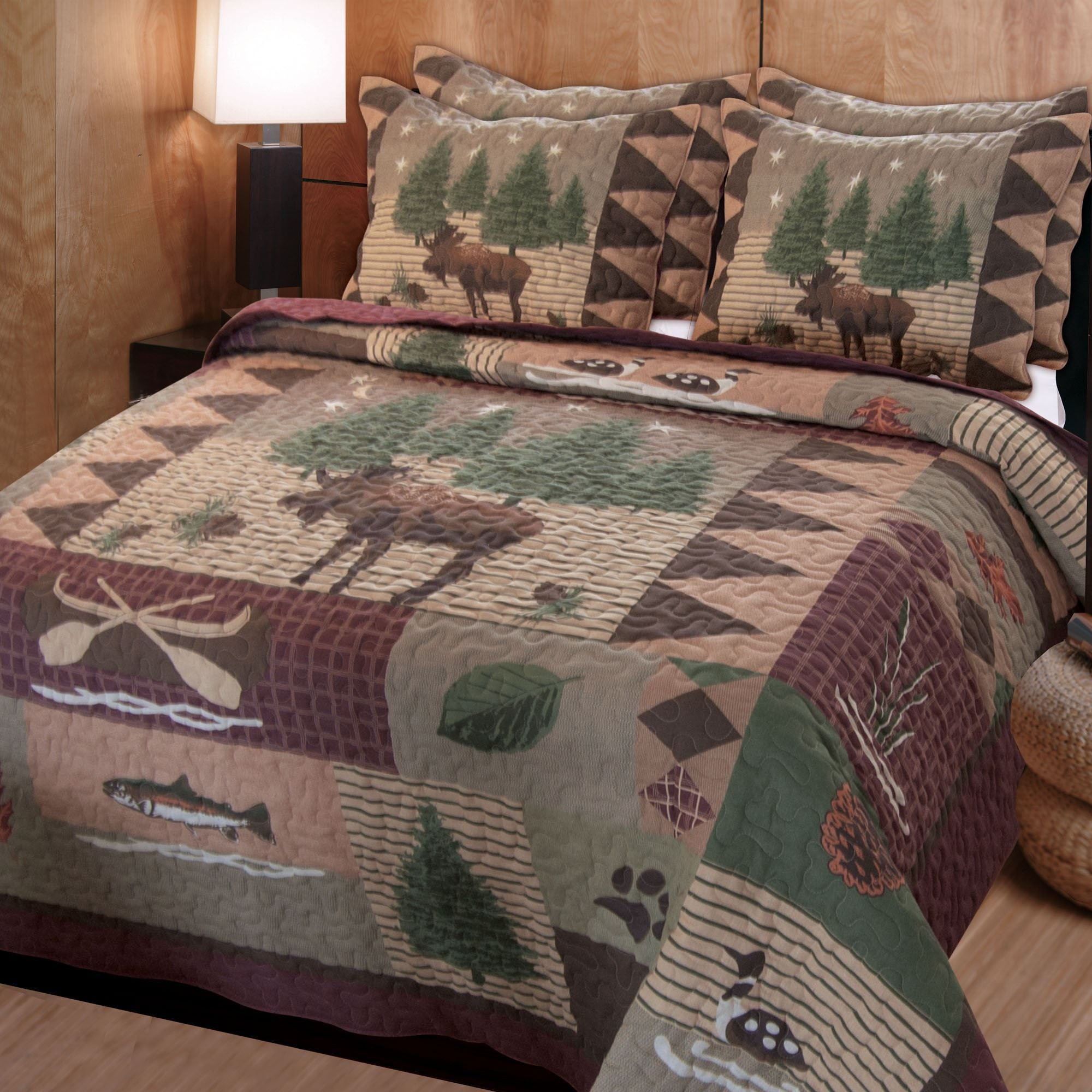 Best Moose Lodge Rustic Quilt Bedding Set With Pictures
