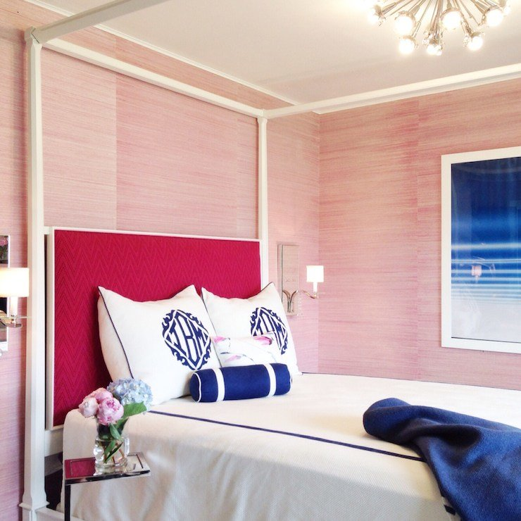 Best Pink Grasscloth Contemporary Bedroom Tiffany Richey With Pictures