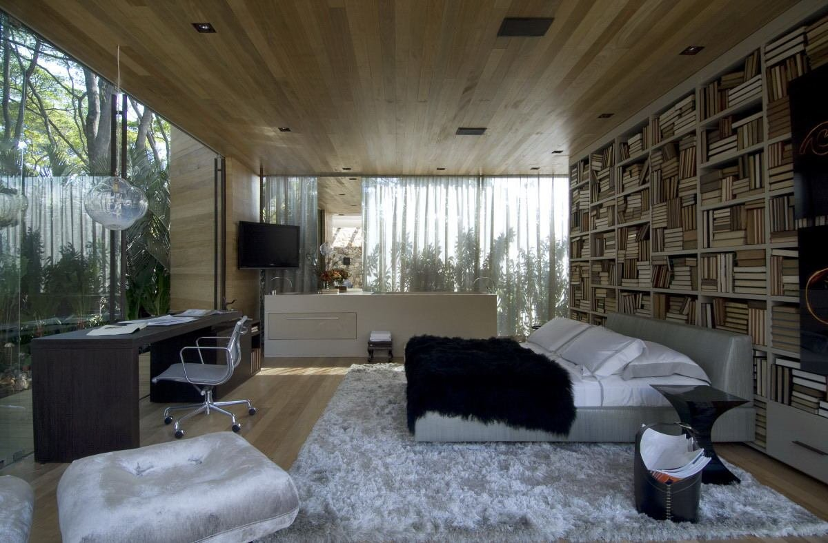 Best Bedroom With Glass Walls And Wood Ceiling Interior With Pictures