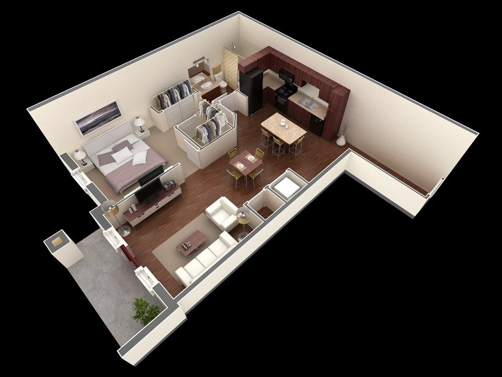 Best 1 Bedroom Apartment House Plans With Pictures Original 1024 x 768