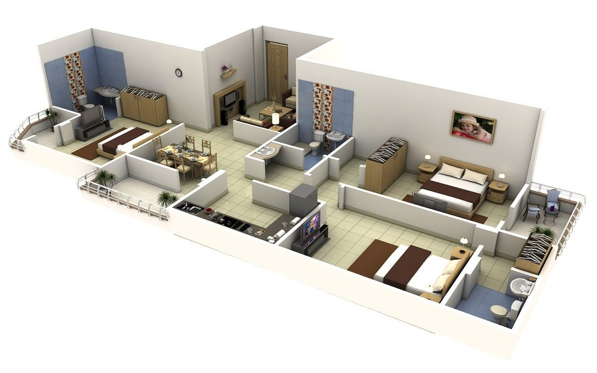 Best 3 Bedroom Apartment House Plans Smiuchin With Pictures Original 1024 x 768