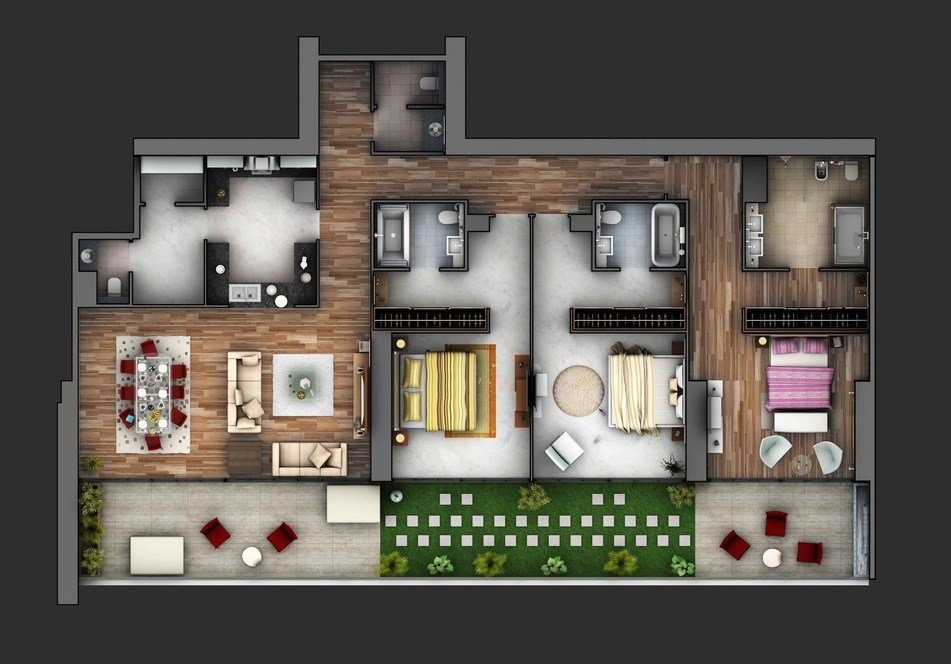 Best 3 Bedroom Apartment House Plans With Pictures Original 1024 x 768
