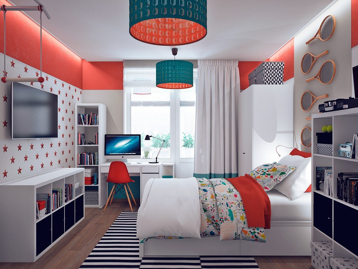 Best Colorful Orange And Teal Kids Bedroom Interior Design Ideas With Pictures