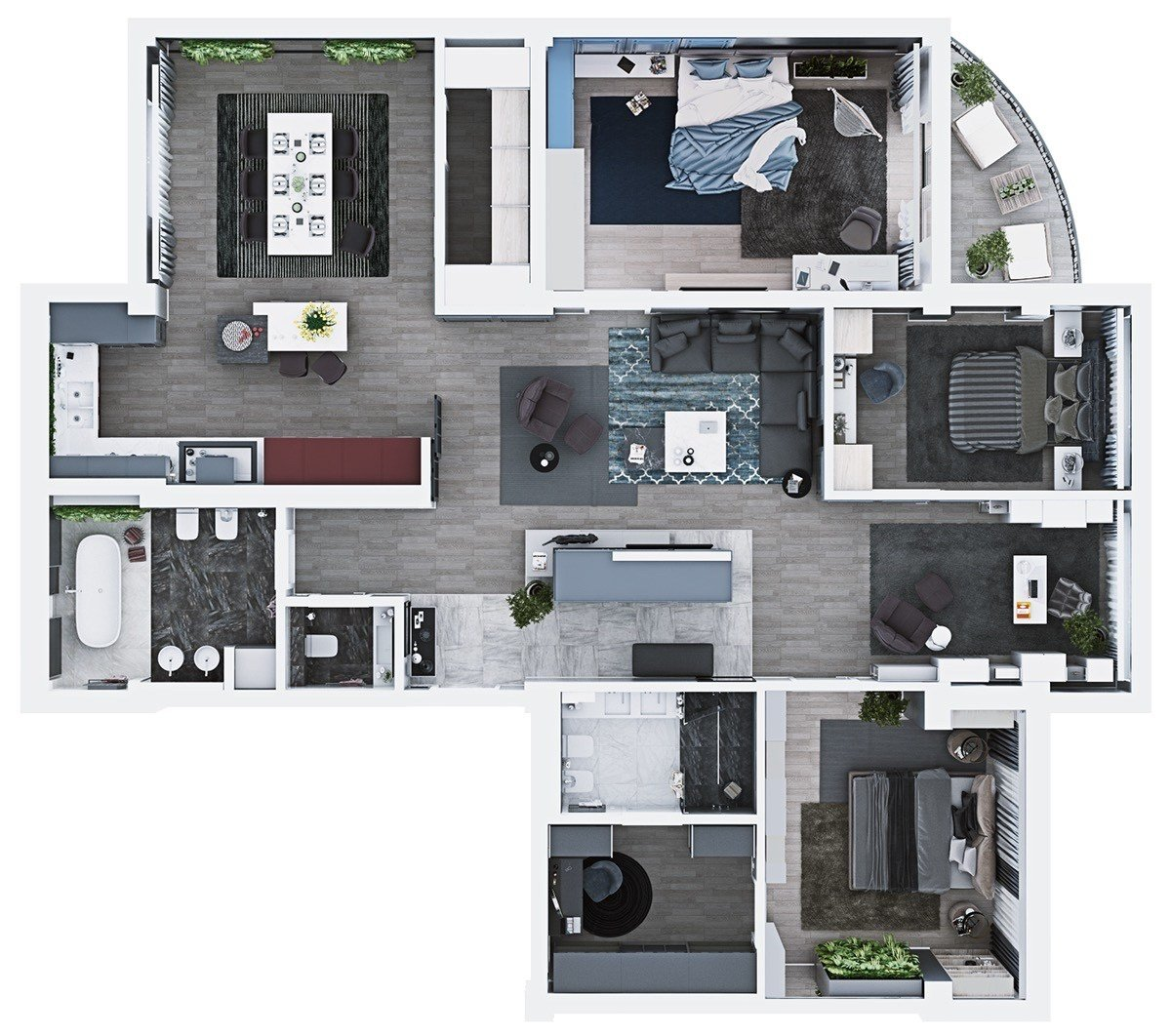 Best Luxury 3 Bedroom Apartment Design Under 2000 Square Feet With Pictures