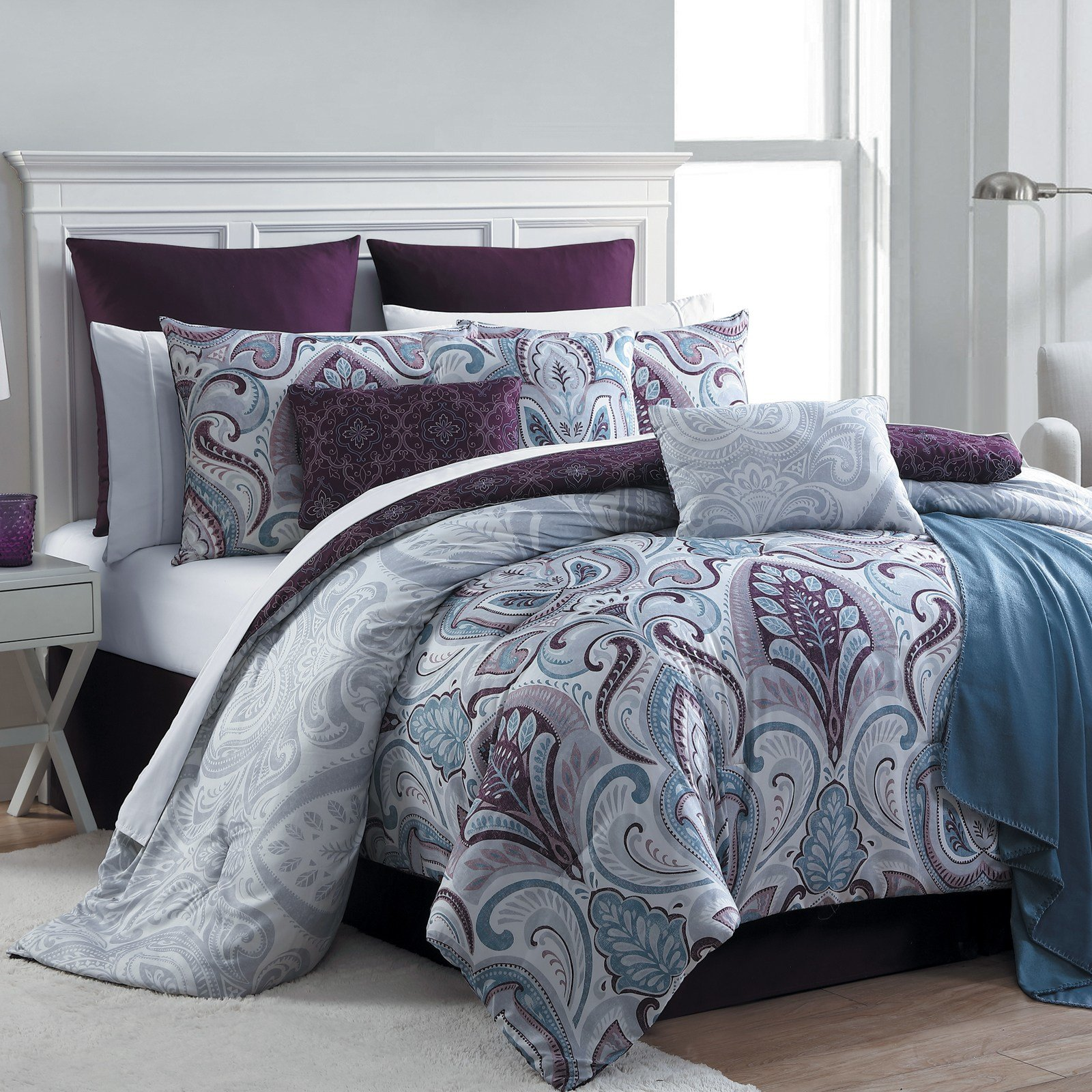 Best Essential Home 16 Piece Complete Bed Set Bedrose Plum With Pictures