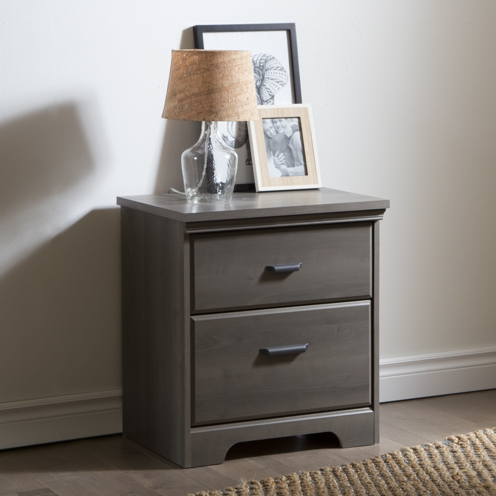 Best South Shore Versa 2 Drawer Night Stand Gray Maple Home With Pictures