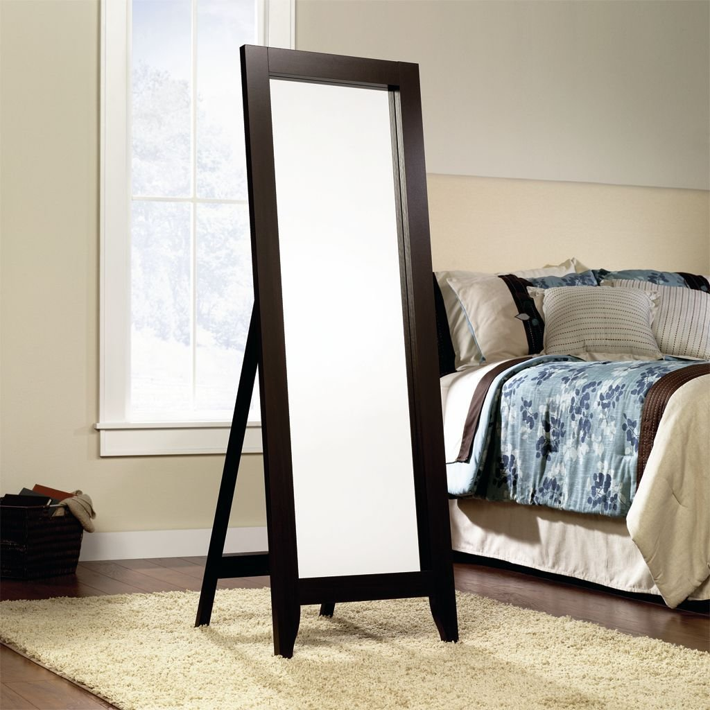 Best Jaclyn Smith Espresso Wood Standing Floor Mirror Shop With Pictures