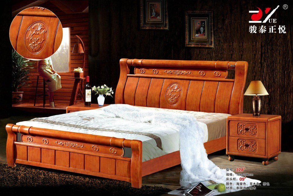 Best High Quality Bed Oak Bedroom Furniture Bed Factory Price With Pictures