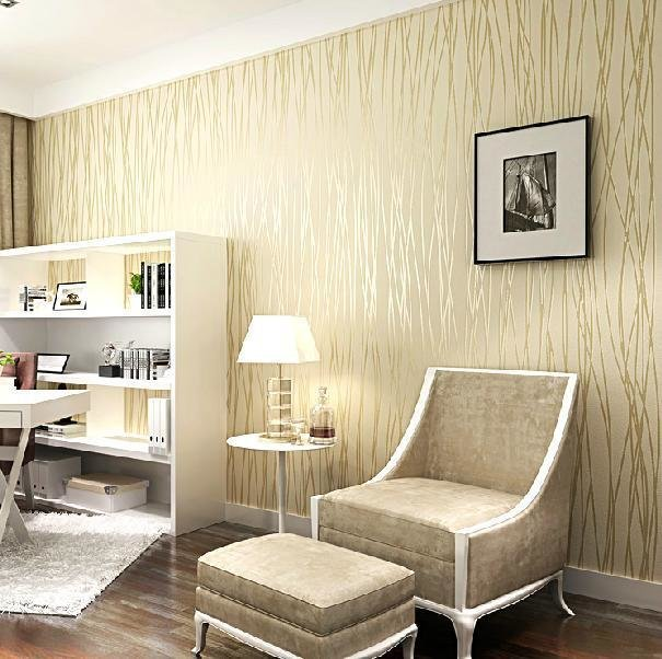 Best Fashion Wallpaper Non Woven Velvet Flocking Plain Stripe With Pictures