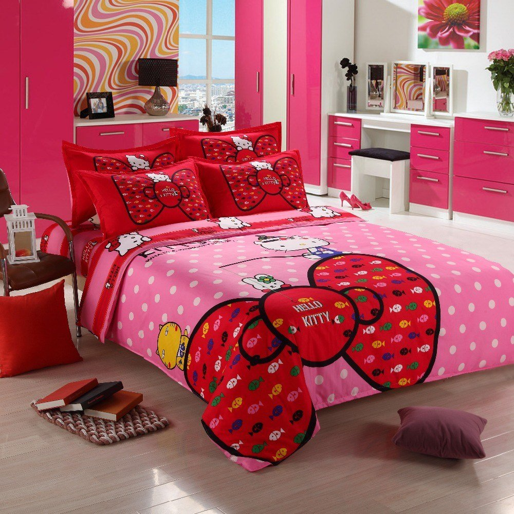 Best 3 4Pcs Hello Kitty Bedding Sets Comforter Set Duvet Cover With Pictures