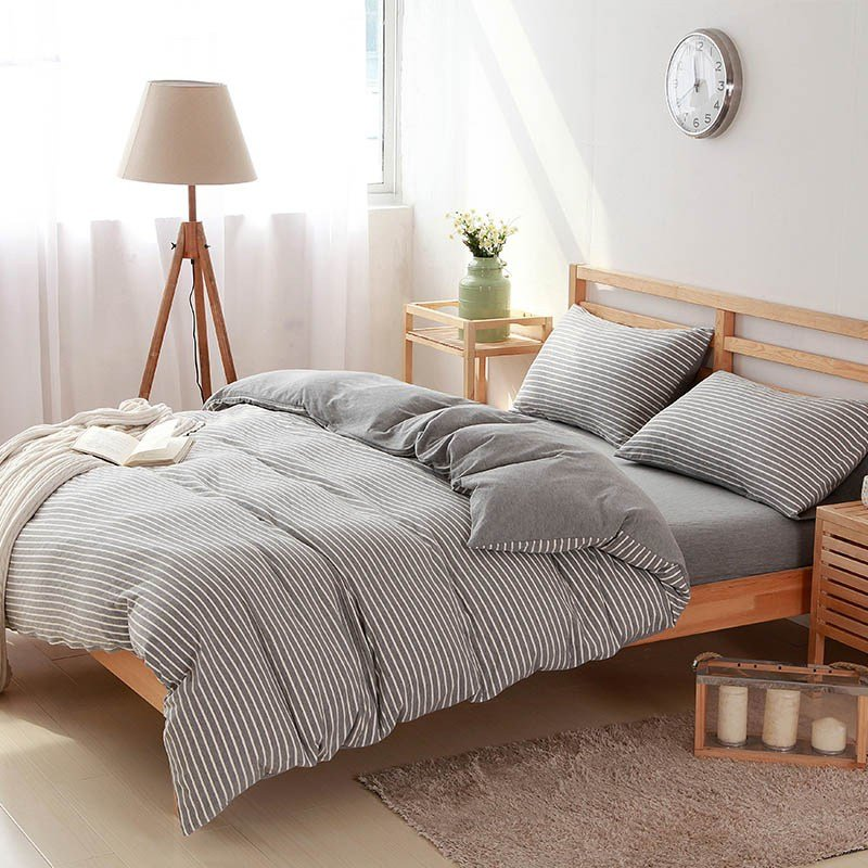 Best 4 Pcs100 Cotton White Striped Bedding Sets Luxury Bed With Pictures