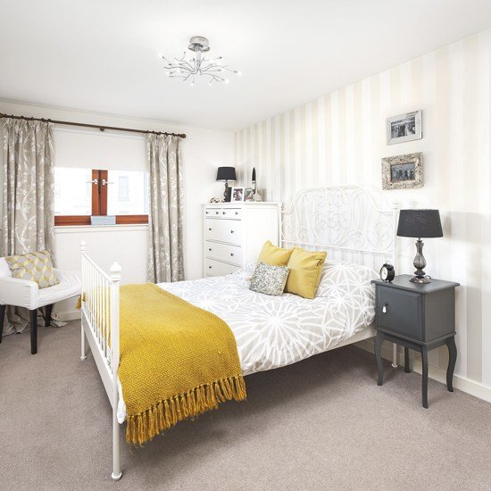 Best Pale Grey Bedroom With Mustard Yellow Accents Ideal Home With Pictures