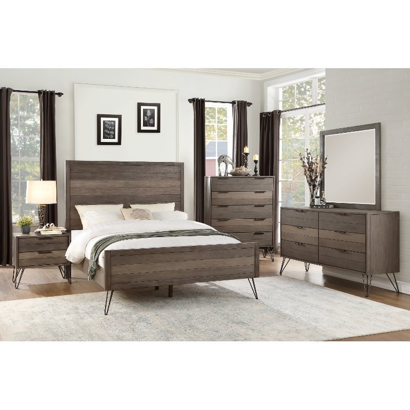 Best Modern Industrial Gray 6 Piece California King Bedroom Set Urbanite Rc Willey Furniture Store With Pictures