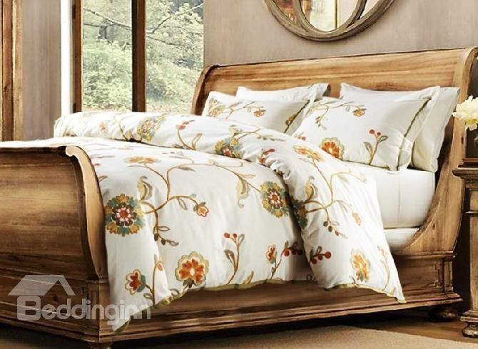 Best New Arrival Country Style Beautiful Flowers Print Suede 6 Piece Bedding Sets Beddinginn Com With Pictures