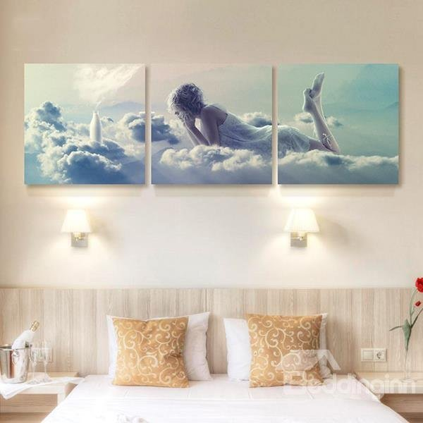 Best Romantic Young Women In L*Ng*R** Lying On Clouds 3 Panel With Pictures
