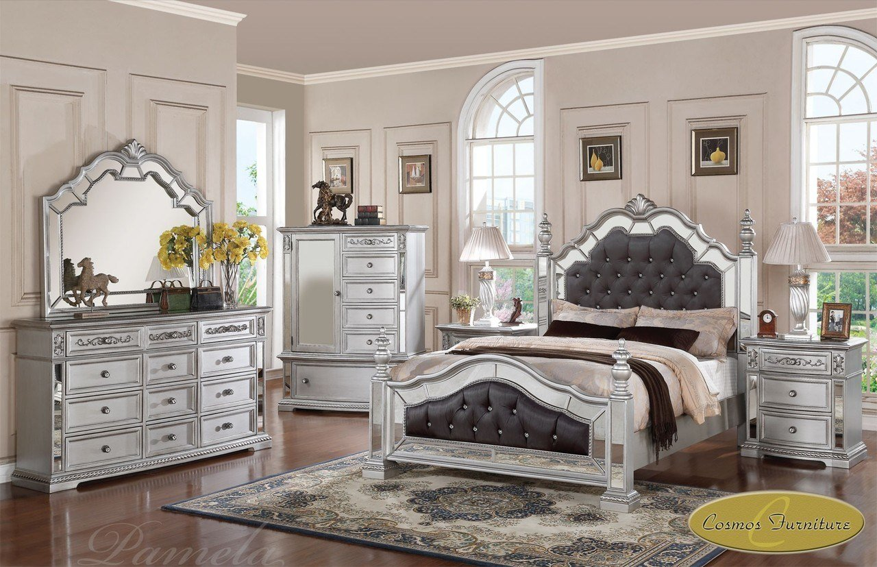 Best 6 Pc Pamela Upholstered Mirrored Queen Bedroom Set Pam F With Pictures