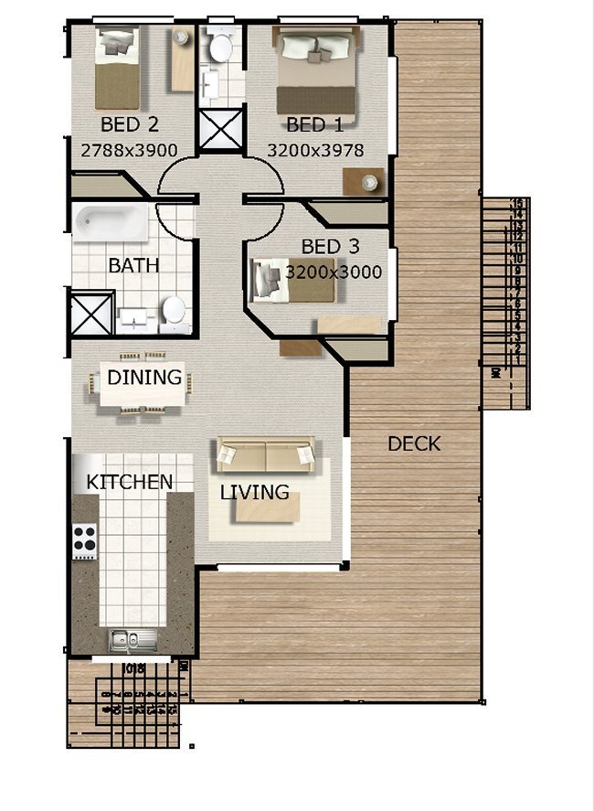 Best Australian 3 Bedroom 2 Storey Beach Style Home Floor Plan With Pictures