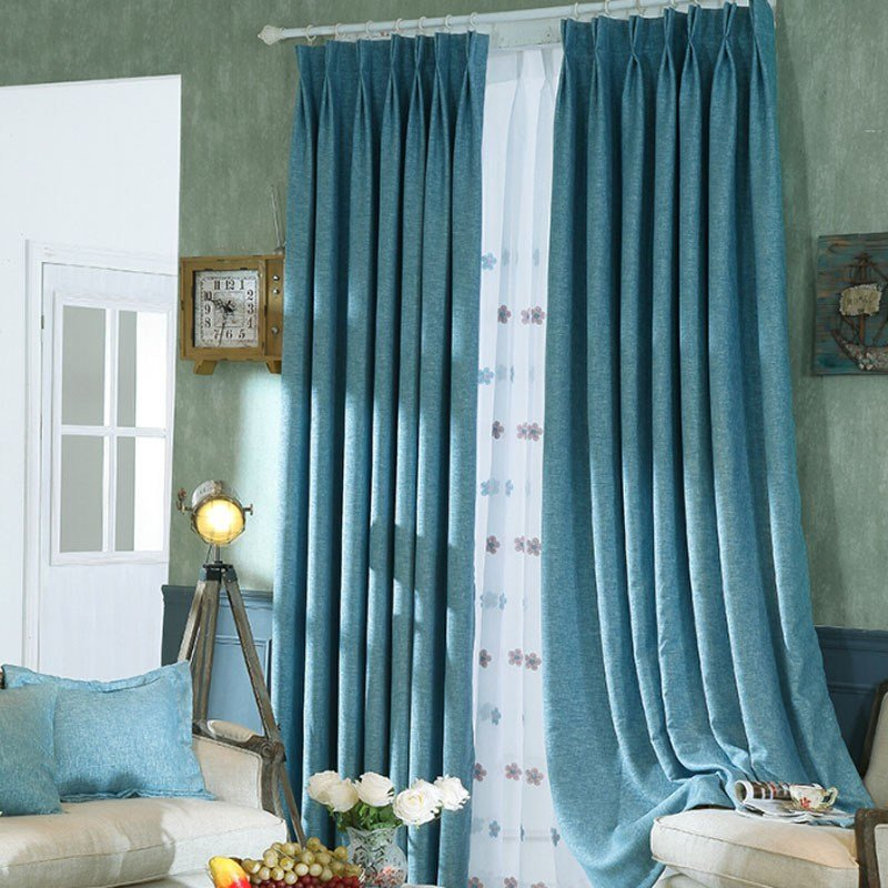 Best Simple Blue Linen Bedroom Blackout Curtains With Pictures
