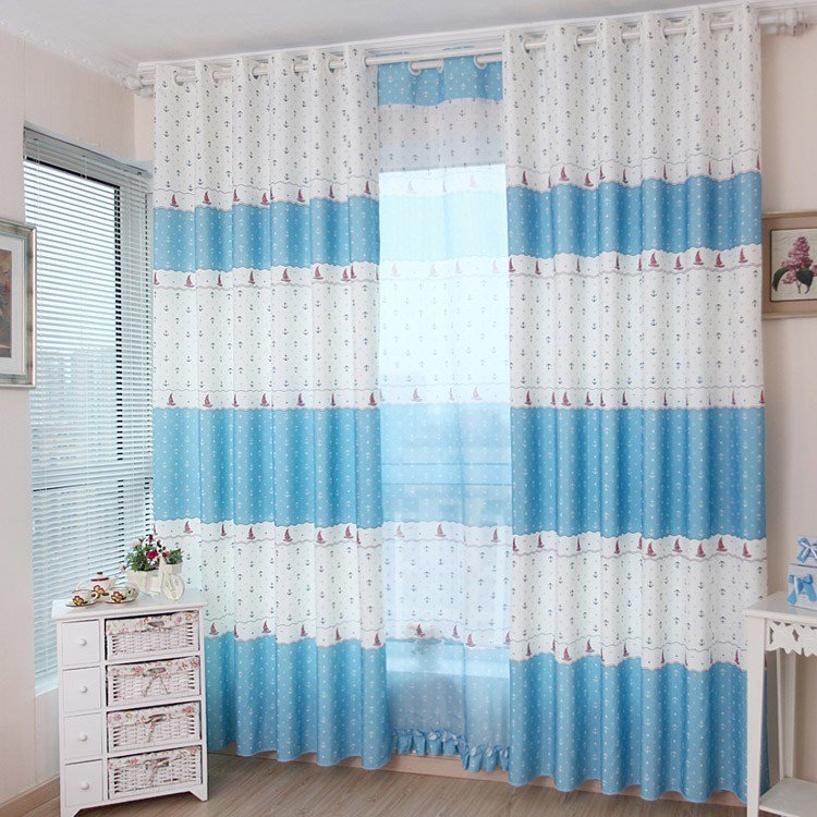 Best Cute Kids Blue White Nautical Curtains For Bedroom With Pictures