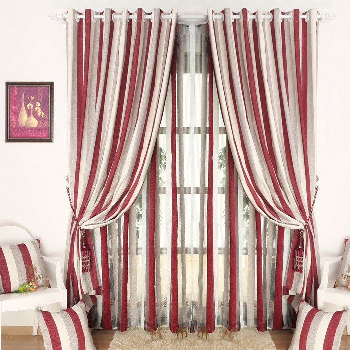Best Simple Chenille Red White Striped Curtain For Bedroom With Pictures