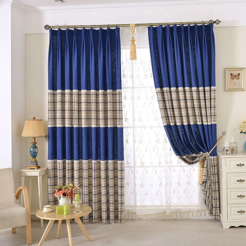 Best Chic Blue Beige Cotton Linen Plaid Curtains For Boys Bedroom With Pictures