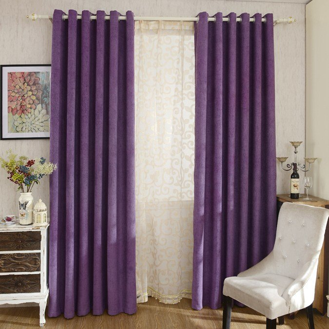 Best Modern Purple Color Solid Chenille Bedroom Curtains With Pictures