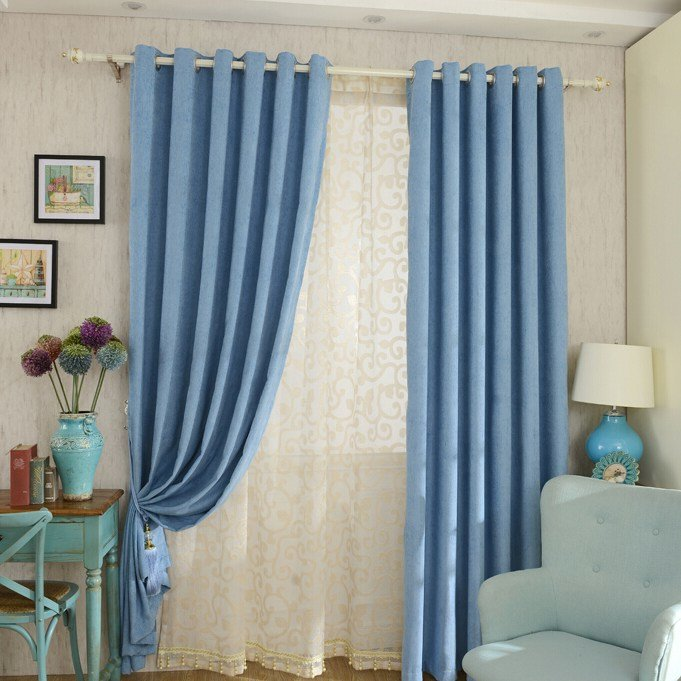 Best Thick Chenille Fabric Bedroom Curtains In Blue Color With Pictures