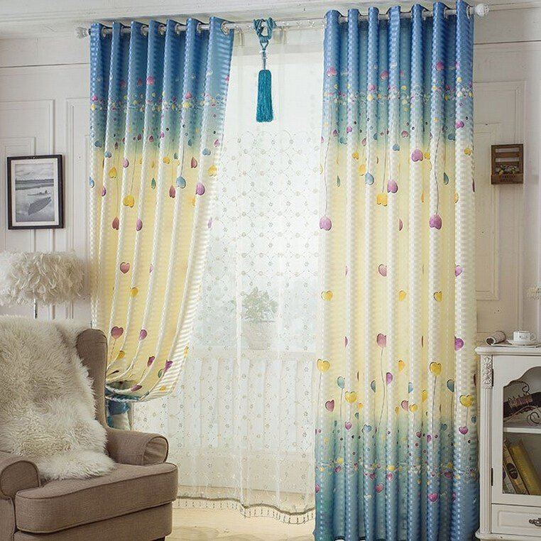 Best Balloon Blue Interesting Bedroom Ready Made Coolcurtains With Pictures