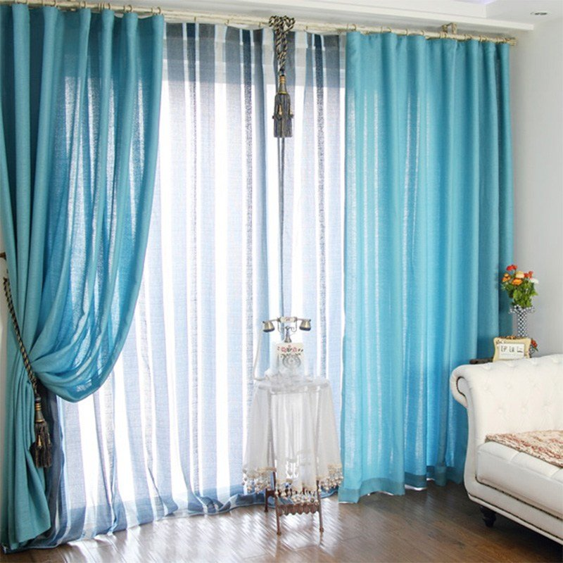 Best Blue Privacy Bedroom Curtain Ideas Polyester Fabric With Pictures