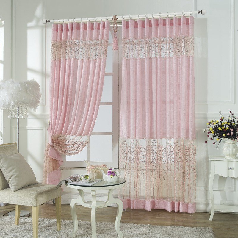 Best Pink Lace Embroidery Patterns Curtains For Bedroom With Pictures