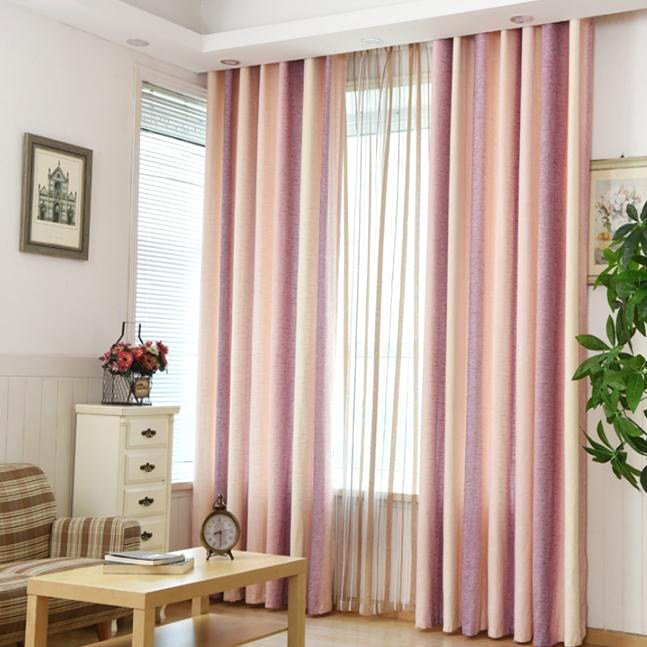Best Pink Striped Jacquard Linen Cotton Blend Modern Curtains With Pictures