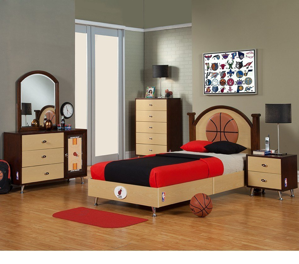 Best Dreamfurniture Com Nba Basketball Miami Heat Bedroom In With Pictures