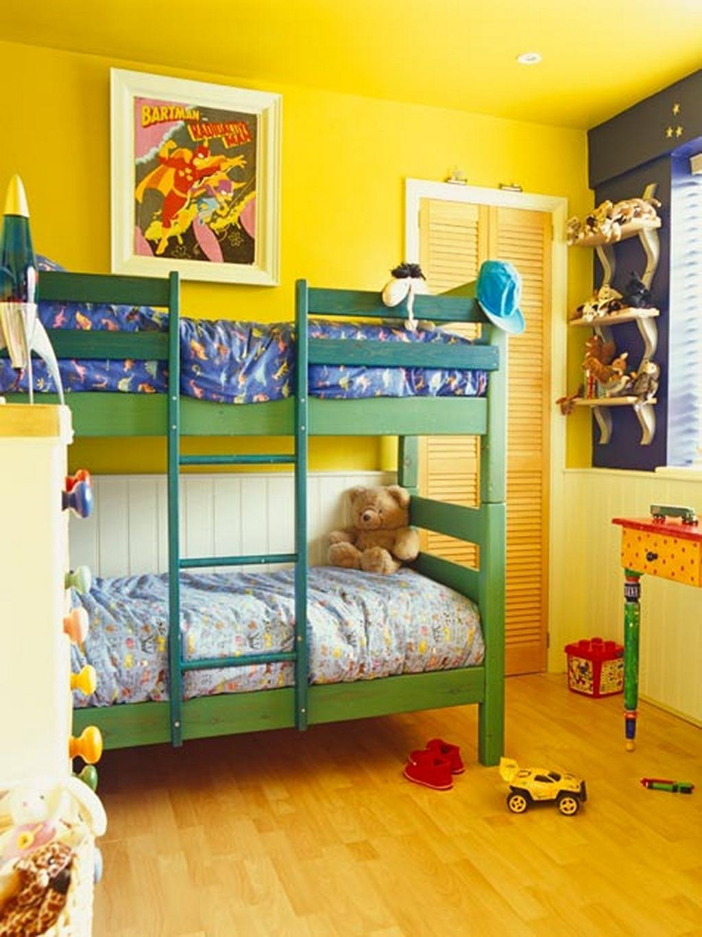 Best Vibrant Yellow Shared Kids Bedroom With Green Bunk Bed With Pictures