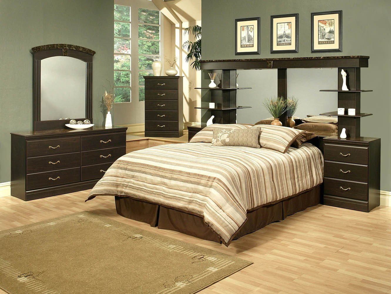 Best 4 Piece Espresso Finish Queen Wall Unit Bedroom Set With Pictures