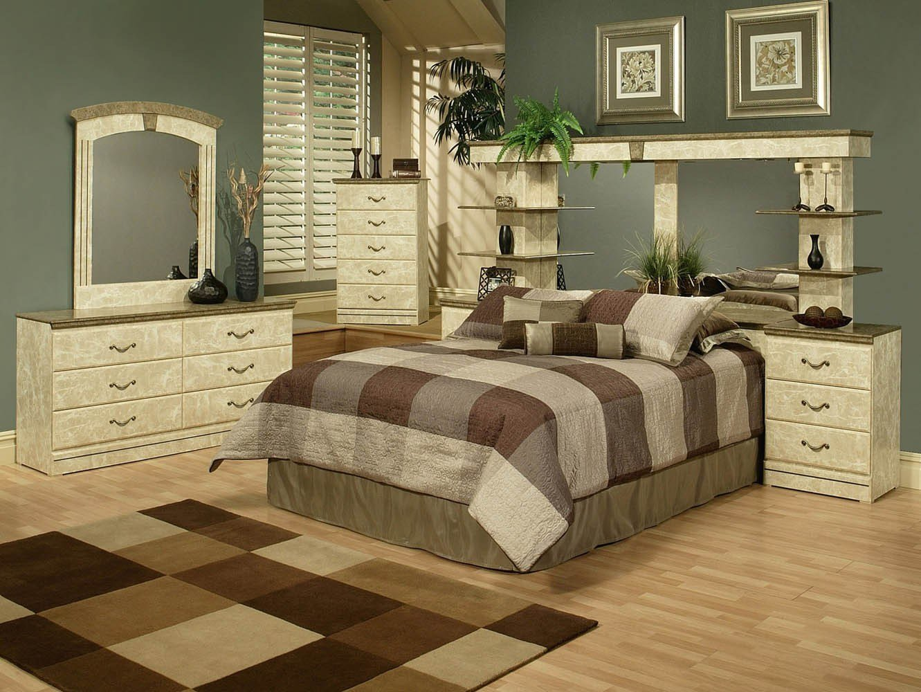 Best Green Marble Finish Queen Wall Unit With 2 Nightstands With Pictures