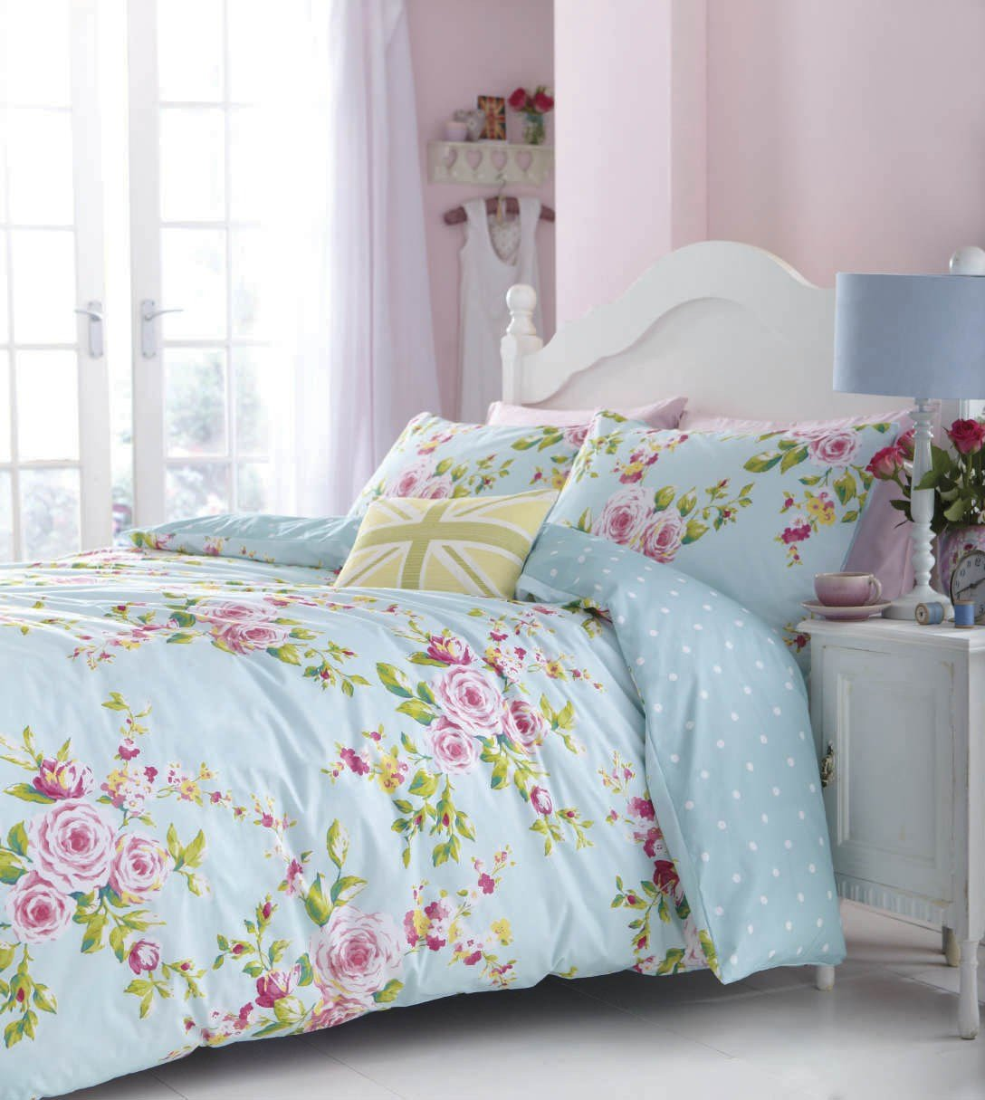 Best Duck Egg Pink Blue Floral Or Spots Reversible Girls With Pictures