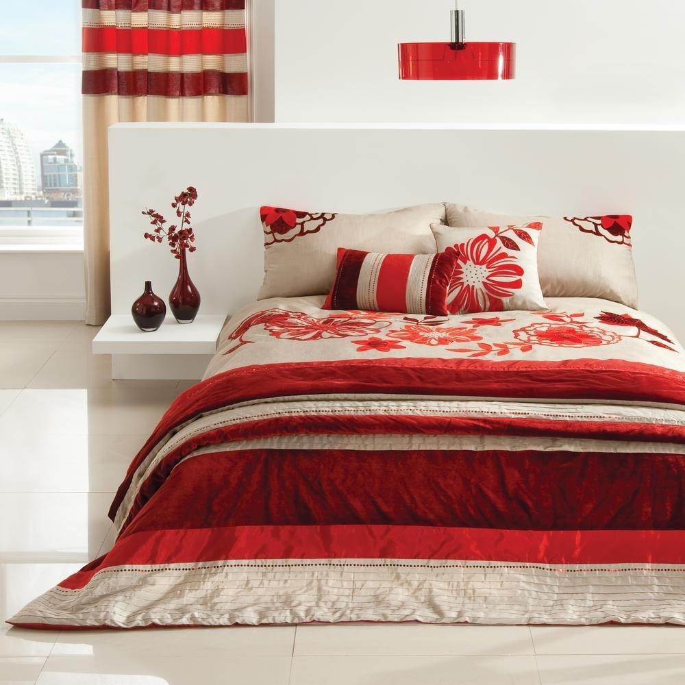 Best Red Beige Floral Bedding Or Curtains Or Bedspread Ebay With Pictures