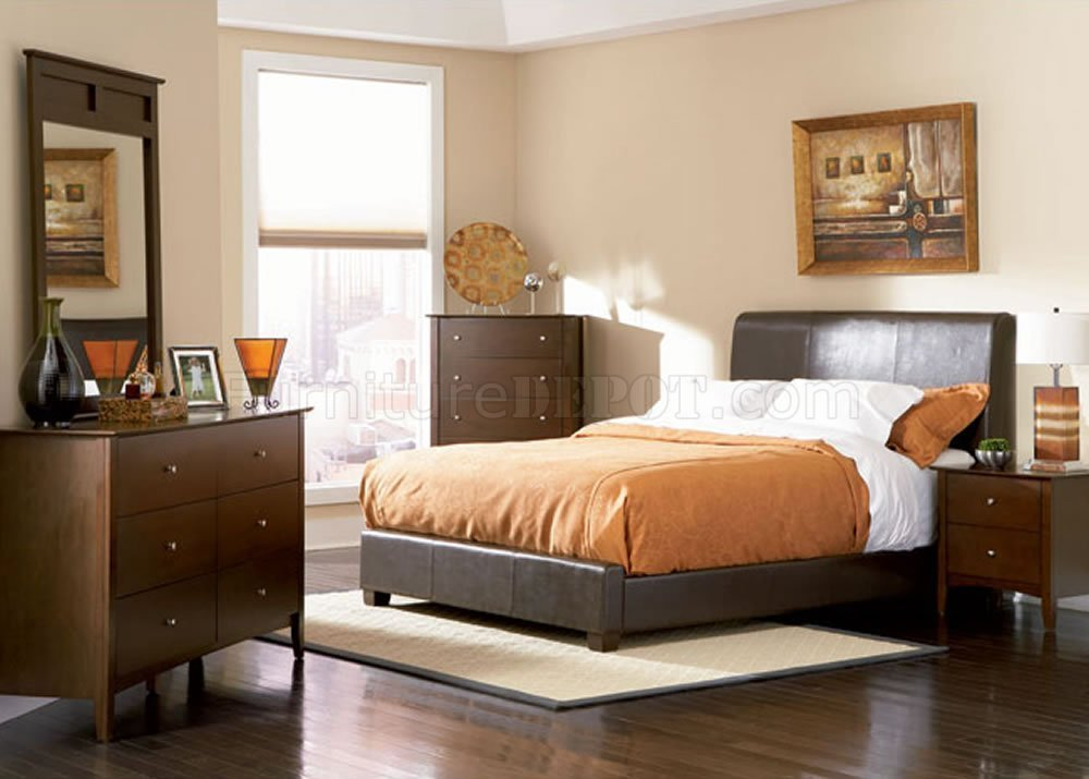 Best Chocolate Brown Contemporary Bedroom With Bycast Leather Bed With Pictures