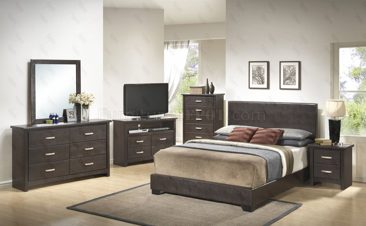 Best G1800 Bedroom 6Pc Set In Dark Brown By Glory Furniture With Pictures