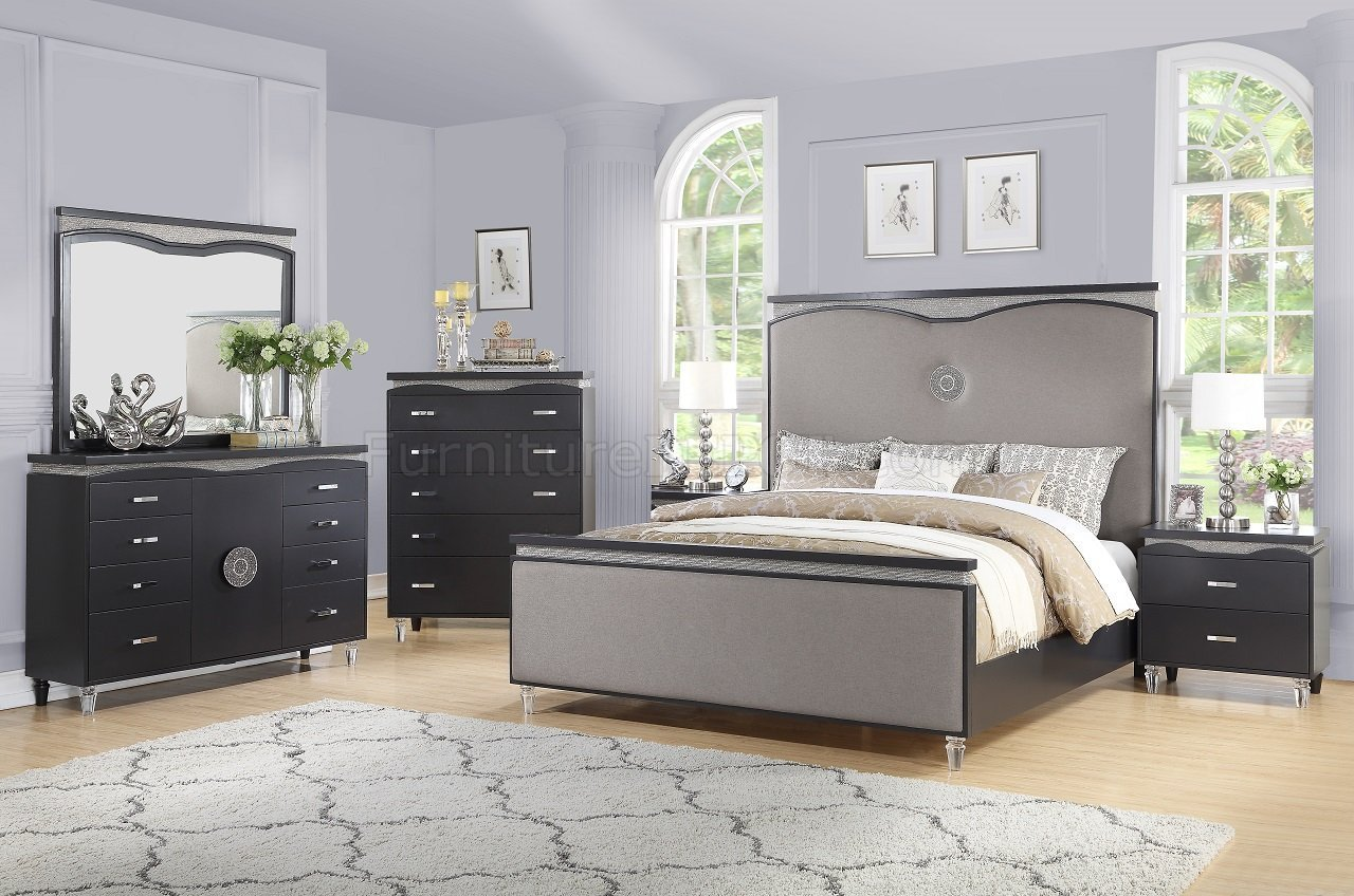 Best Valencia Bedroom Set 5Pc In Gray Fabric Dark Brown W Options With Pictures