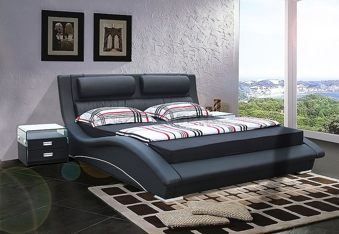 Best Black Leatherette Modern Stylish Bed W Padded Headboard With Pictures