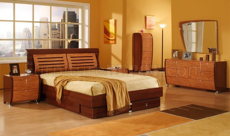 Best 5 Piece Mahogany And Cherry Finish Modern Bedroom Set With Pictures