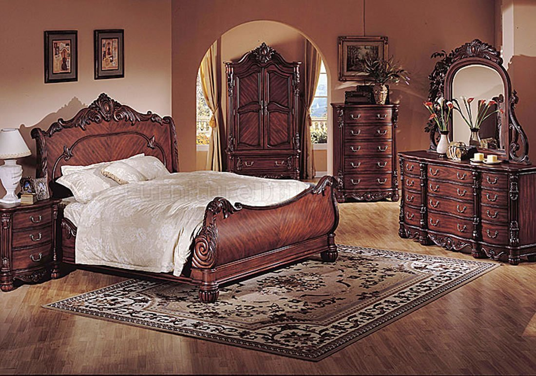 Best Deep Cherry Finish Classic Traditional Bedroom W Sleigh Bed With Pictures
