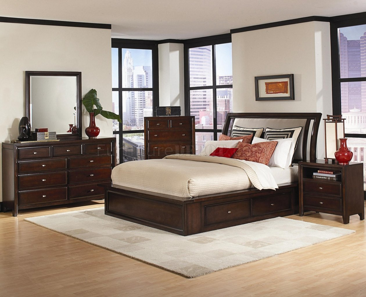Best Distressed Cherry Finish Contemporary Bedroom W Storage Bed With Pictures