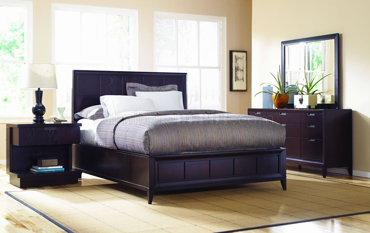 Best Dark Wood Finish Contemporary Bedroom W Optional Casegoods With Pictures